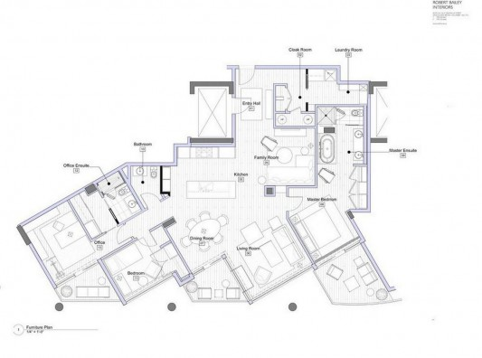 Contemporary Silversea Residence by Robert Bailey furniture plan