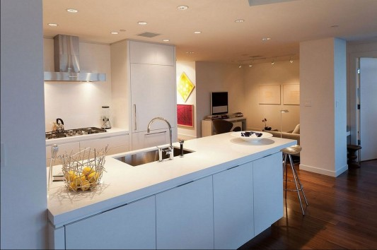 Contemporary Silversea Residence by Robert Bailey kitchen counter table