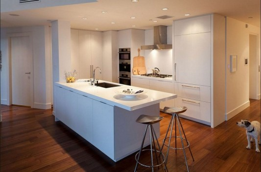 Contemporary Silversea Residence by Robert Bailey white kitchen island