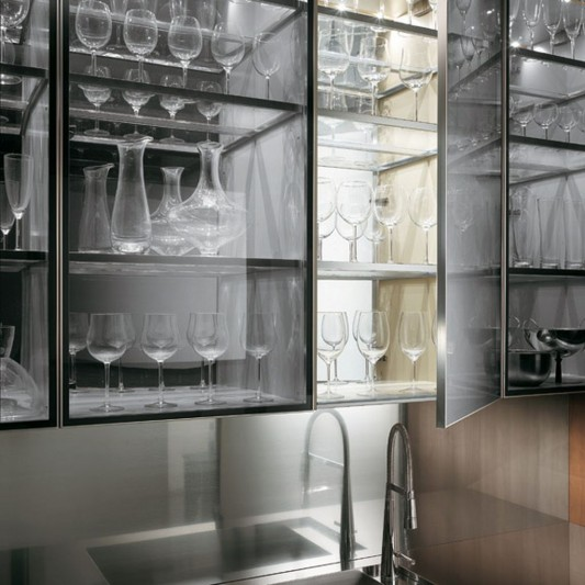 Contemporary Transparent Glass Kitchen Cabinet Design