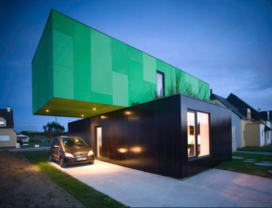 Crossbox modular home concept garage design