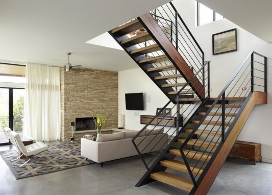 Custom Contemporary Lake Residence by Hsu Office of Architecture -stair design