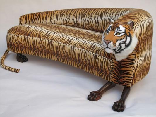 Decorative Upholstered Wild Animal Sofa Tiger Style Design