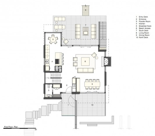 Dune Road Residence by Stelle Architects first floor plan