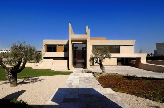 Exotic Modern House In Madrid Beautiful Front Exterior View