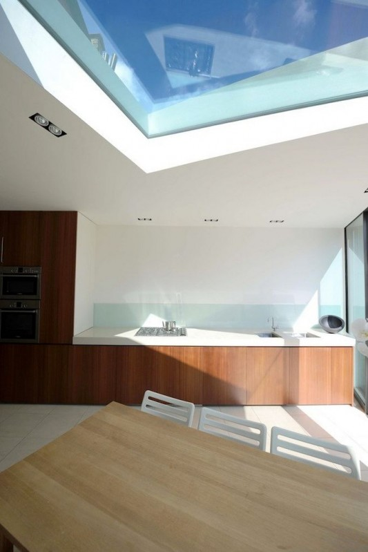 Faceted house - small modern residence kitchen with transparent glass roof