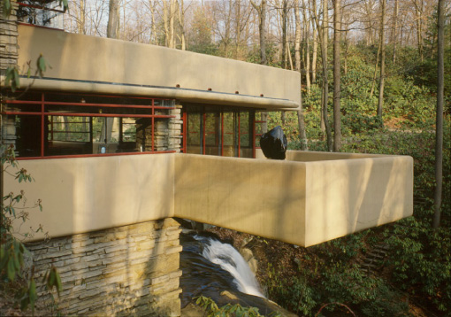 Fallingwater House Design With Natural Stone concept