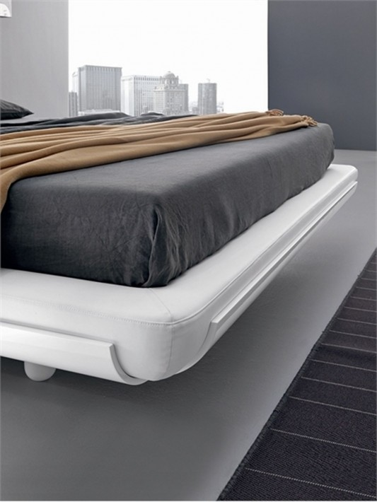 Fusion by Presotto minimalist white lacquered bed design detailed