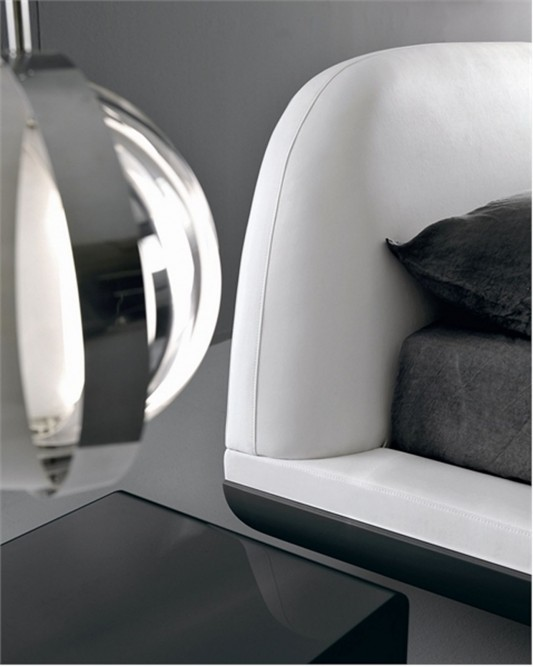 Fusion by Presotto simple and dynamic bed design with comfortable headboard