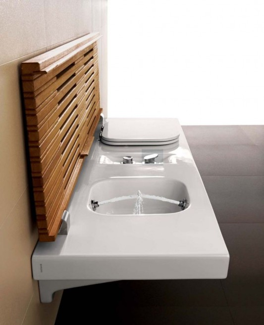 G-Full washbasin design open timber with a cover strips