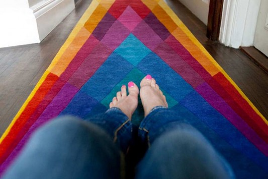 Geometric shape colored contemporary rugs