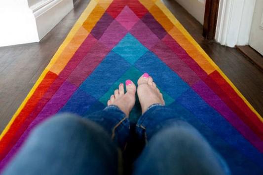 Geometric shape colored contemporary rugs