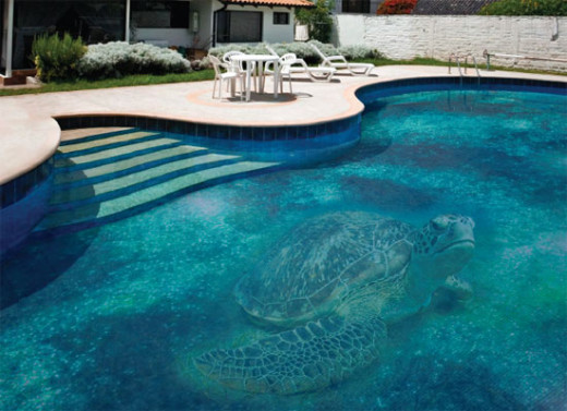 Gigantic turtle at the bottom Swimming Pool Design with Mosaic Glass Tiles by Glassdecor