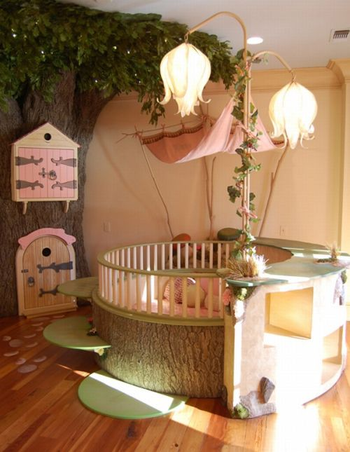 Girl Bedroom Design with tree ornament