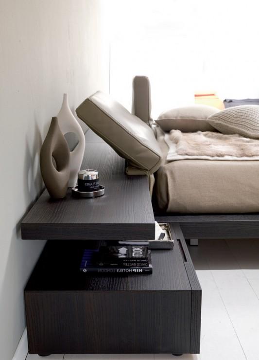 Italian Platform bed modern design with reclinable headboard