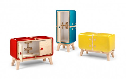 KERAMOS colorful ceramic shell cabinet by Coprodotto