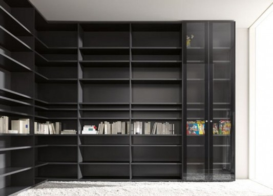 L-shape modern contemporary wardrobes system with bookcase function L-shape modern contemporary wardrobes system with bookcase function
