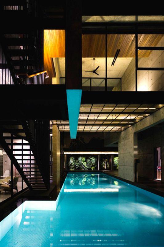 L-shaped swimming pool design ideas