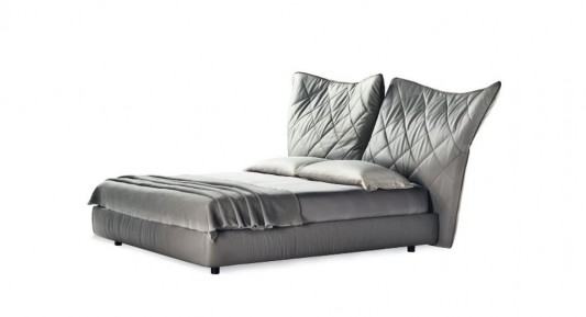 Contemporary Bed with Comfortable Folding Headboard, Lelit by