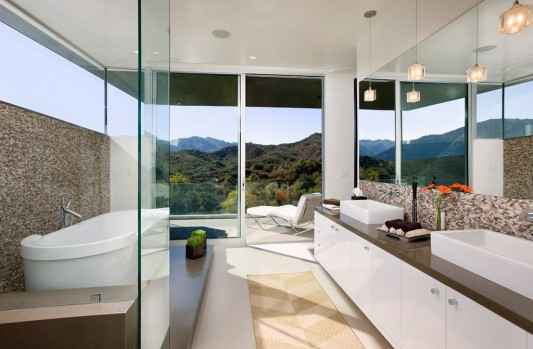 Lima residence modern minimalist bathroom with open concept