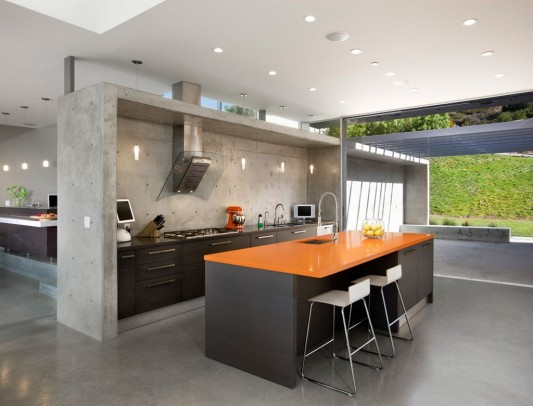Lima residence modern minimalist kitchen counter with concrete partition