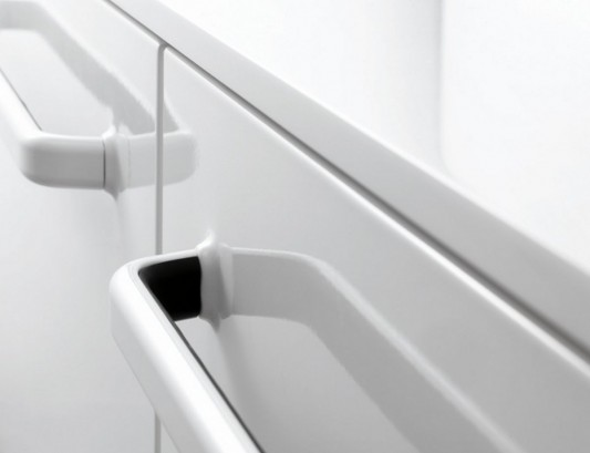 Minimalist white bathroom furniture detailed