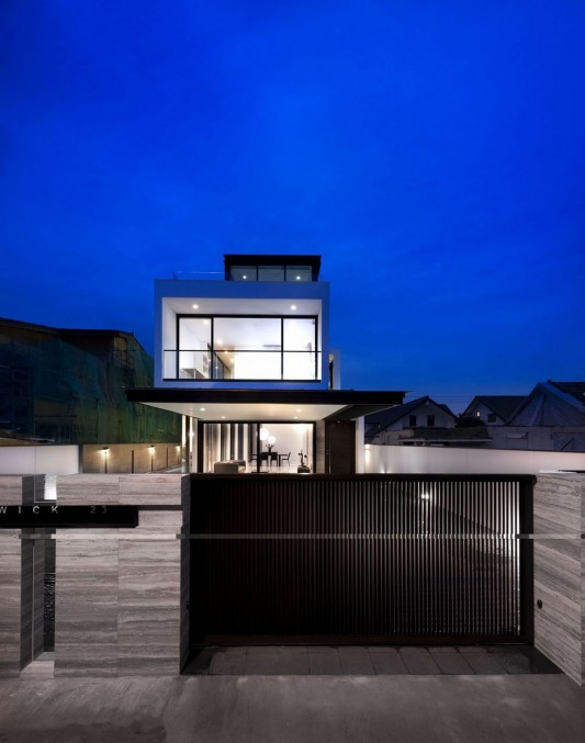 Modern Alnwick Road House by Park + Associates exterior night
