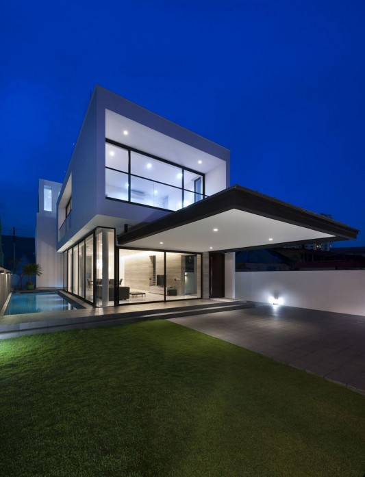 Modern Alnwick Road House by Park + Associates exterior night side view