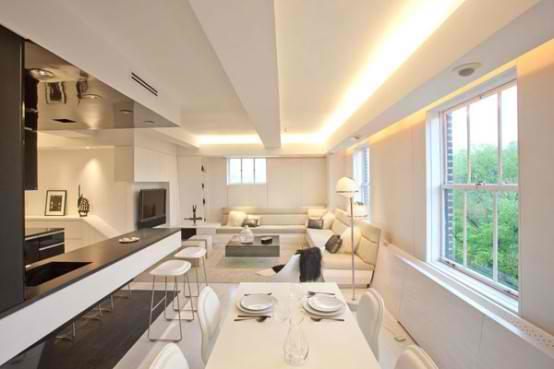 Modern Apartment Furniture Ideas With  Lighting Mood