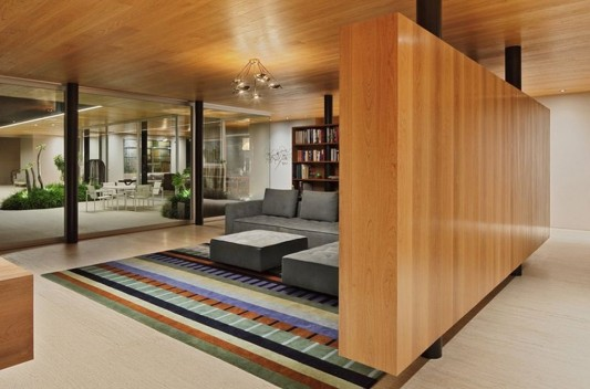 Modern Dwelling appreciating nature design minimalist wooden wall partition