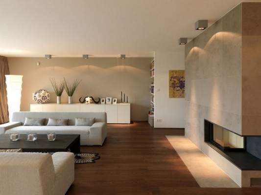 Modern Reconstruction House by Atelier Heiss Architects living room