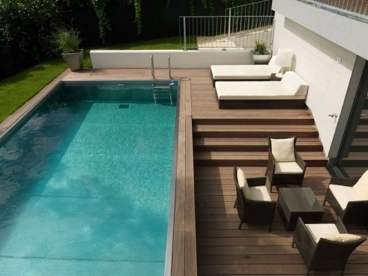 Modern Reconstruction House by Atelier Heiss Architects swimming pool