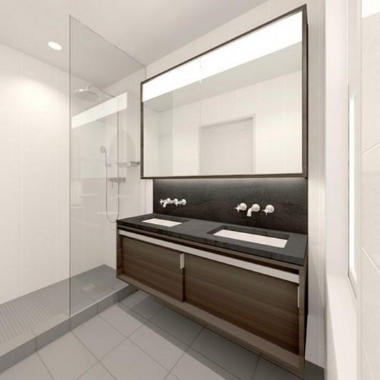 Modern Sensibility interior apartment renovation design - bathroom vanities