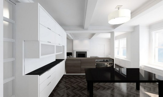 Modern Sensibility interior apartment renovation design - black and white furniture