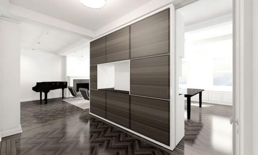 Modern Sensibility interior apartment renovation design - credenza walnut for partition