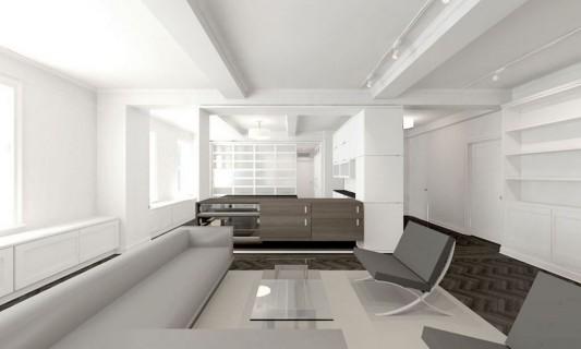 Modern Sensibility interior apartment renovation design guest room design