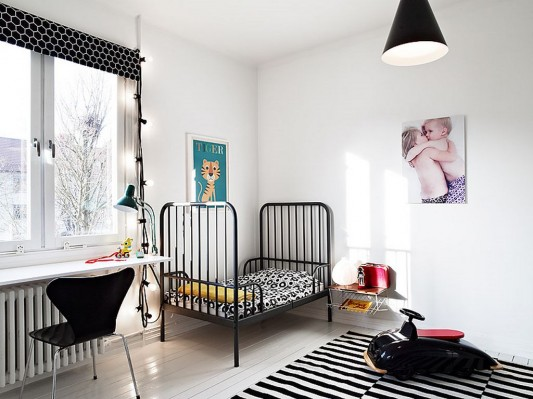 Modern Swedish family house interior ideas childs bedroom interior with study space
