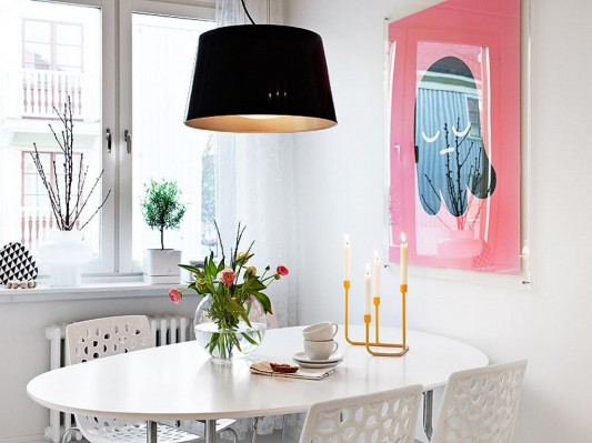 Modern Swedish family house interior ideas dining room table minimalist