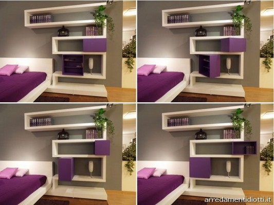 Modern bedroom wall mounted shelving system with rotating unit