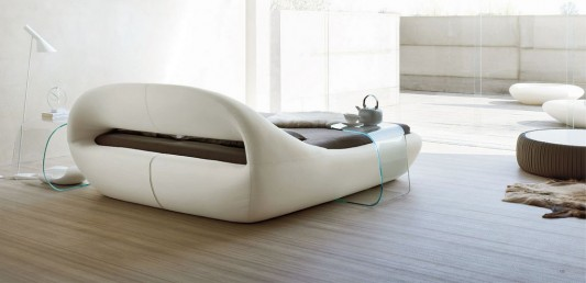 Modern contemporary organic leather bed design