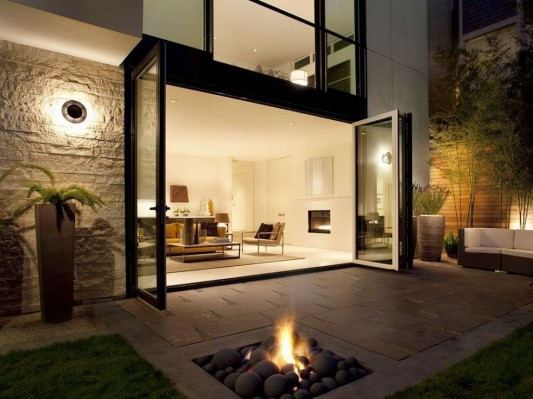 Modern Four Storey Urban Home Design Patio With Fireplaces