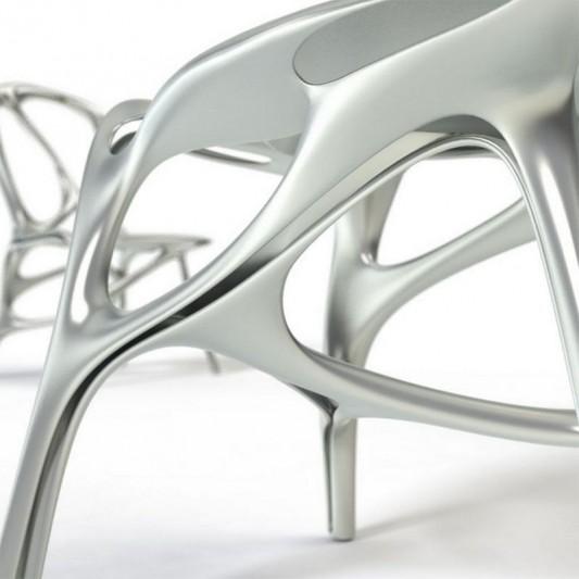 Modern futuristic aluminum chair detailed