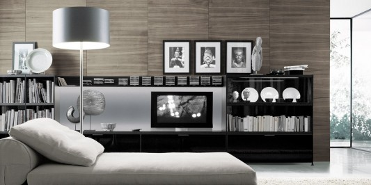 Modern Minimalist Living Room Library Bookcase With TV Unit