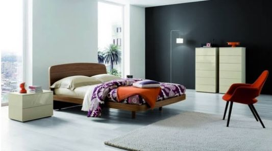Modern stylish double bed natural color