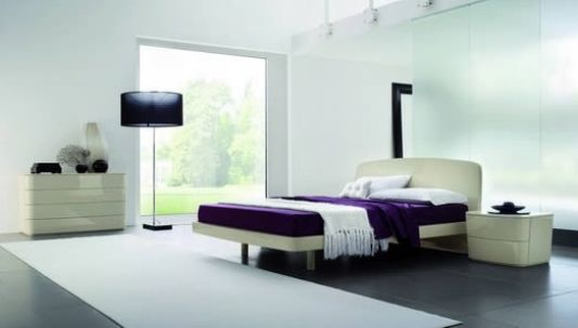 Modern stylish double bed side view