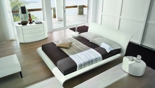 Modern stylish double bed top view