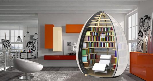 Nu-ovo innovative personal room as library & Mobile Personal Room Creative Design Nu-ovo by Paolo Maldotti ...