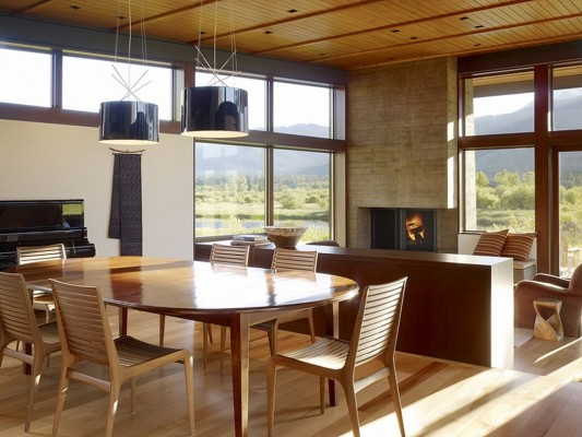 Peaks View Residence exotic and natural wooden dining room design