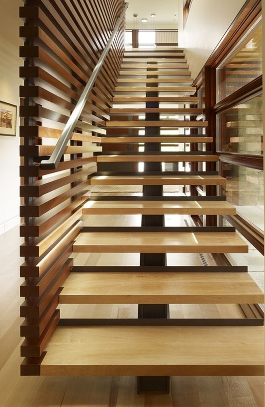 Peaks View Residence wooden stair design