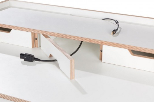 Home Office Cable Management: Minimalist Secretary Office Desk, Plane Desk By Felix
